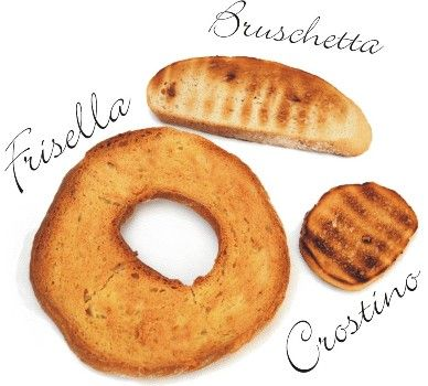 The difference between Bruschetta, frisella and crostino
