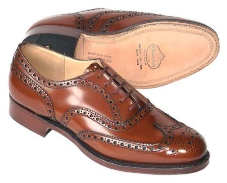 Churches English Shoes. These are elegant. I have a pair of black Churches and they are incredibly comfortable. Shoes can make or break you. Don't overlook them.