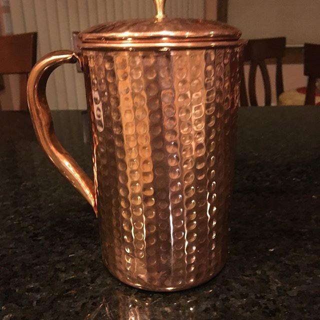 Alkaline water made naturally in a copper pitcher. #handmade #shantiva #ayurveda
