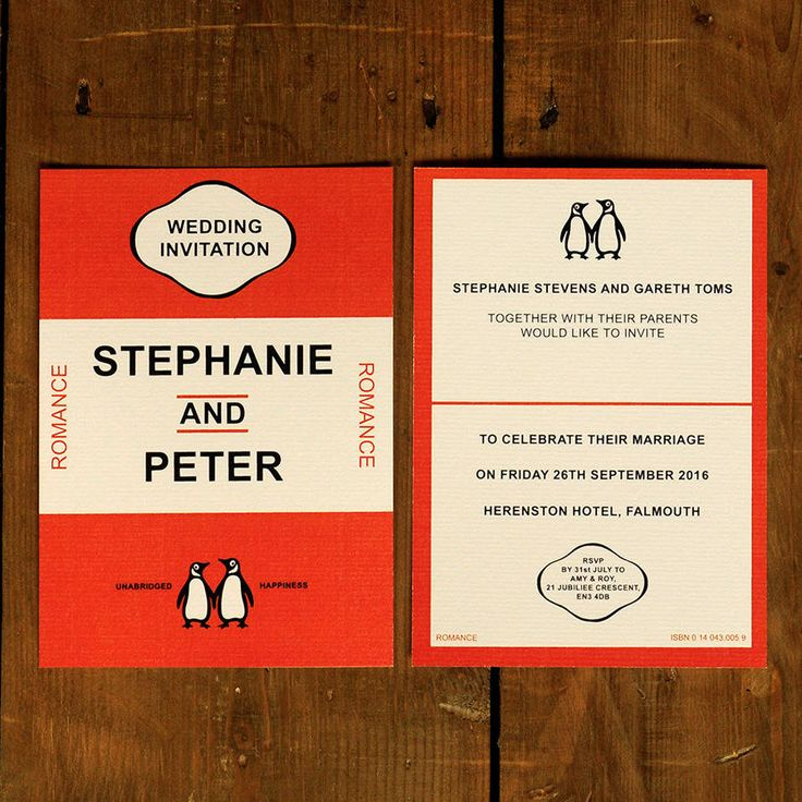 Penguin Book Cover Wedding Invitation : Penguin classic wedding invitations and save the date