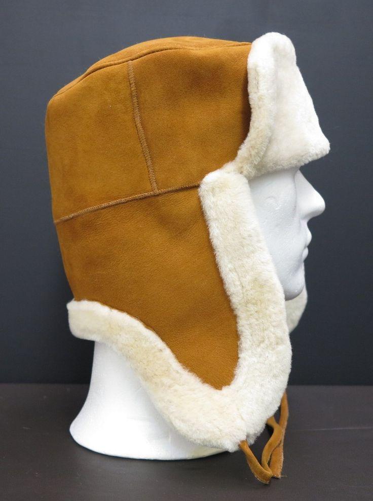 kvalitní pánská ušanka z kožešiny beránka - barva koňaková