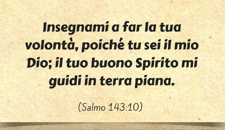Insegnami a far la tua volontà, poiché tu sei il mio Dio; il tuo buono Spirito mi guidi in terra piana. (Salmo 143:10)