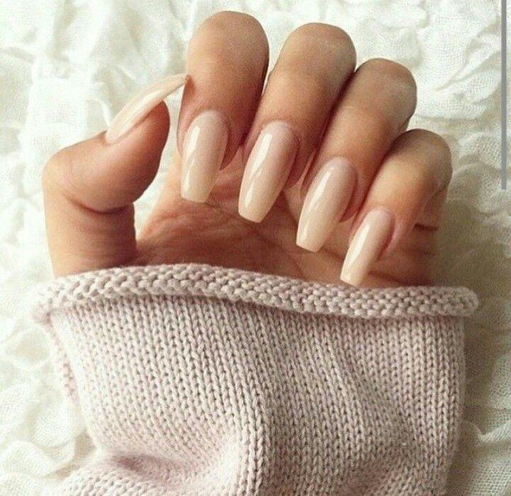 Cool Cool long nude acrylic gel nails natural......