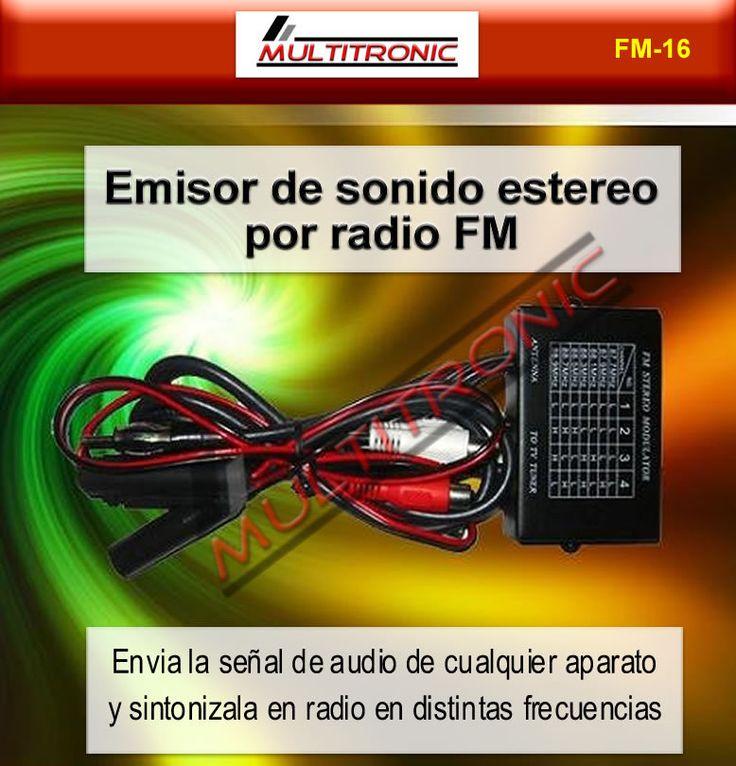 Precio 24 € - Transmisor de sonido FM-16 por frecuencias FM - Puedes escoger entre 16 frecuencias de radio FM . Para poder enviar el sonido a una emisora que este libre.Dispone de una entrada de audio RCA.Puedes emitir el sonido de video consolas, dvd o cualquier aparato multimedia con salida audio RCA.¡¡¡ Olvidate de cables y envia el sonido facilmente a tu radio ¡¡¡