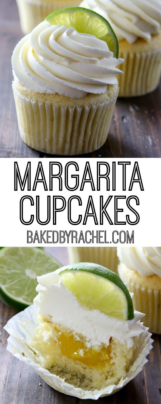 Margarita cupcakes with fresh lime curd filling and tequila-lime buttercream frosting recipe from @bakedbyrachel
