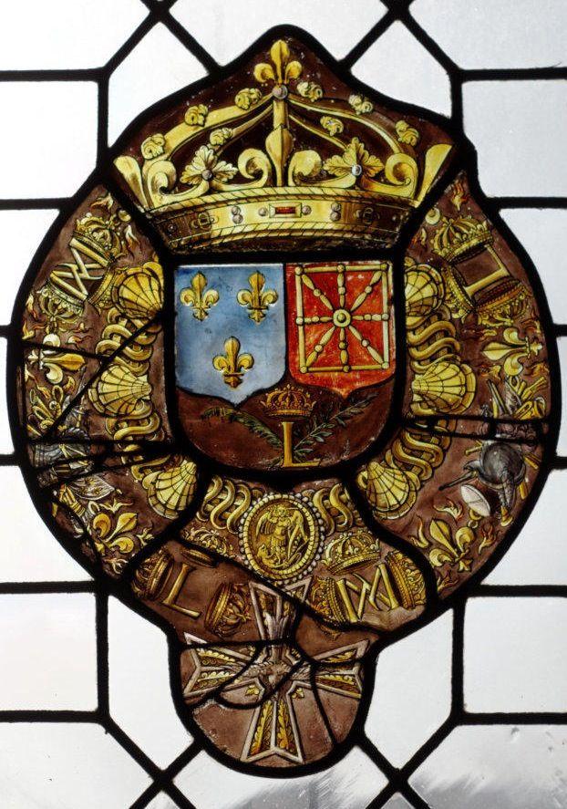 Armes du roi de France et de Navarre, 1620-1624. -- Verrière, musée d'Art et d'Histoire Saint Loup, Troyes, photo Denis Krieger.