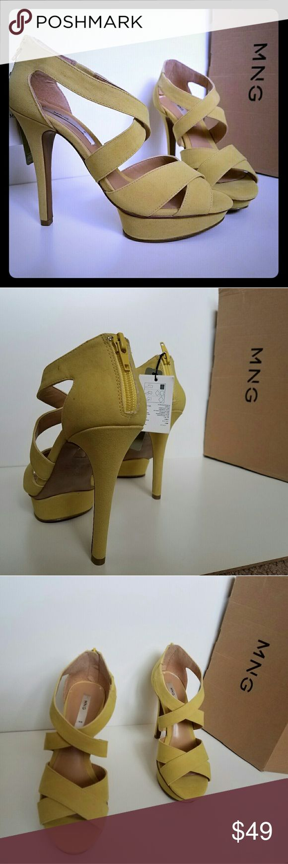 MANGO sandals heels Jimmy C Yellow Mango heels in great condition. Never used. Size 38 EUR/ 7.5 US. Mango Shoes Sandals