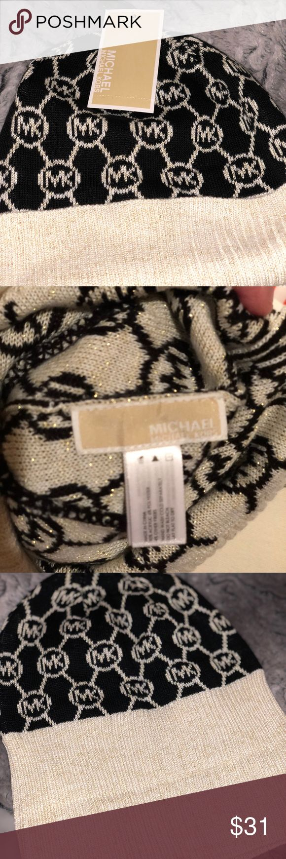 Michael Kors Logo Black/Cream/Metallic Gold Beanie NWT 💕 New With Tags.   Michael Kors Signature MK Logo, Fine Knit Beanie.    Features: * Color:  Black, Cream, & Sassy Metallic Gold.  * MK patterned logo knit beanie. * Double-folded cuffed hem. * One size fits most. * Acrylic Package Dimensions9.8 x 8.7 x 0.3 inches & 0.64 ounces Department-Womens  MK logo beanie is a stylish way to stay warm in cold weather. It will deliver a sassy and classy touch to any cute outfit!!  Add MK to your…