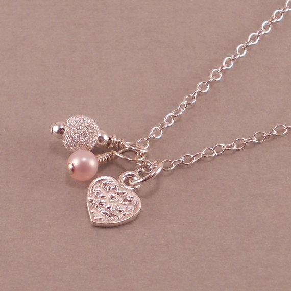 Heart Necklace, Sterling Silver, birthday necklaces, pink pearl ...
