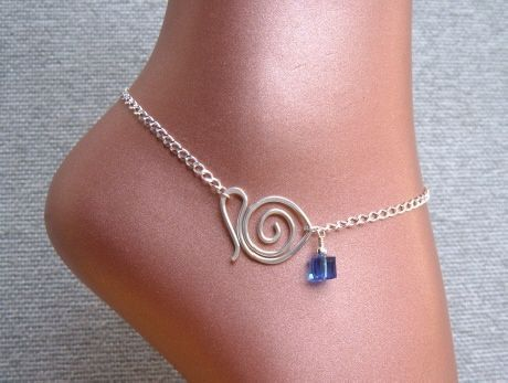 Handmade Jewelry, Sapphire Blue Swarovski Crystal  Sterling Silver Chain Anklet with Handcrafted Swan Clasp.