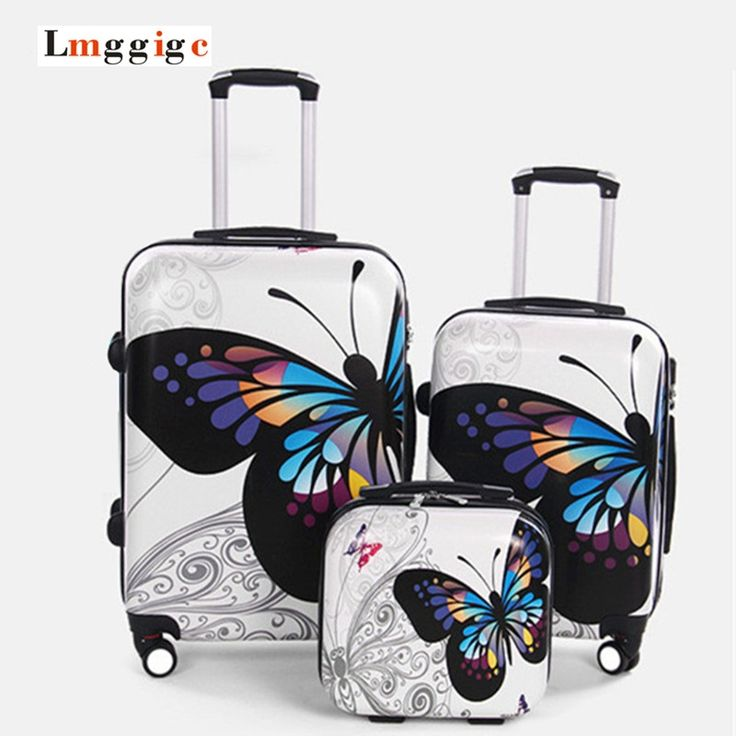 116.10$  Watch now - http://aliew3.worldwells.pw/go.php?t=32759367113 - Upgraded version Carry-Ons,Cartoon butterfly picture Luggage,Child Women's Suitcase,ABS Travel Bag,Universal wheel Trolley box 116.10$
