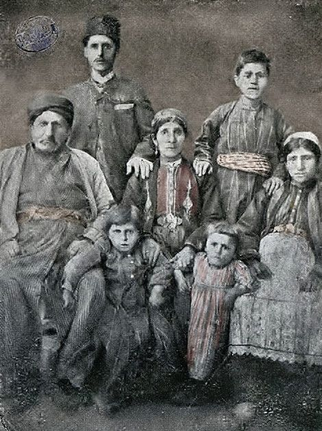 Hovagim Baghdasarian's family, Armenians from the village of Verin (Upper) Khokh.  Late-Ottoman era, end of 19th century.  Upper Khokh (present-day Kavaktepe) was located approximately 30 km south of the city of Kharpert/Harput.