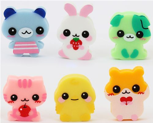 6 cute baby animals erasers de Japónkawaii 1