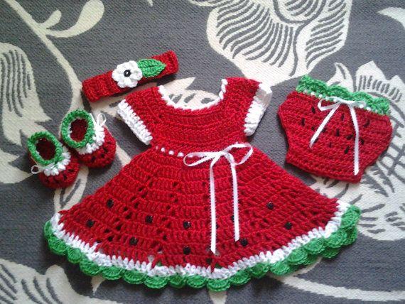Crochet anguria baby set dress, vestito di estate del bambino, vestito, copertura del pannolino, Babbucce & fascia, vestito ragazza bambino rosso, anguria abito set