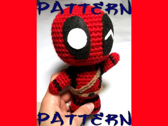 Deadpool Knitting Pattern : Deadpool Crochet Pattern Chibi Deadpool Plush Intermediate Crochet Patter...