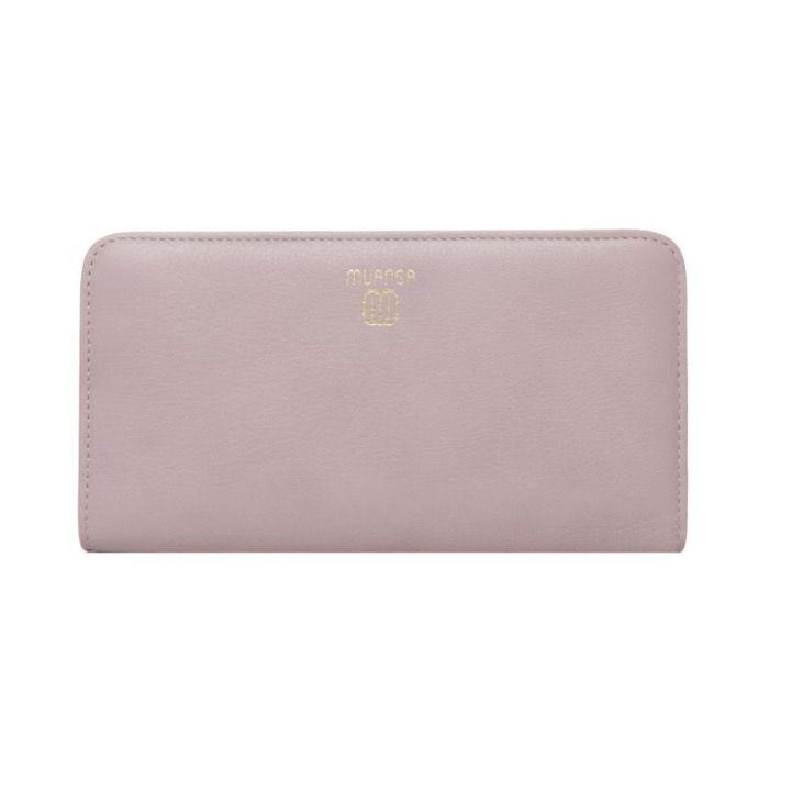 MUANGA | Grace Continental Wallet in rose quartz full grain leather