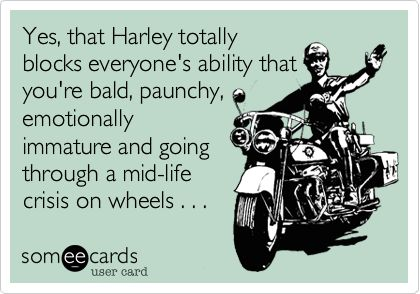 Yes, that Harley totally blocks everyone's ability that you're bald, paunchy, emotionally immature and going through a mid-life crisis on wheels . . .: Emotional Immature, Harley Totally, You R Bald, Totally Blocks, American Culture, Mid Lif Crisis, Culture Decay