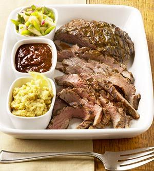The grilled steak is served with three different toppers so guests can ...