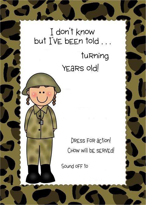 free printable camouflage military invitation template