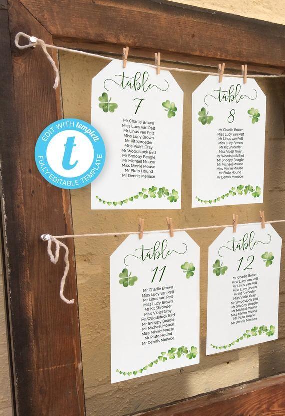 Printable Irish Wedding Seating Chart With Green Shamrock Etsy In 2020 Seating Chart Wedding Diy Reception Seating Chart Seating Chart Wedding Template