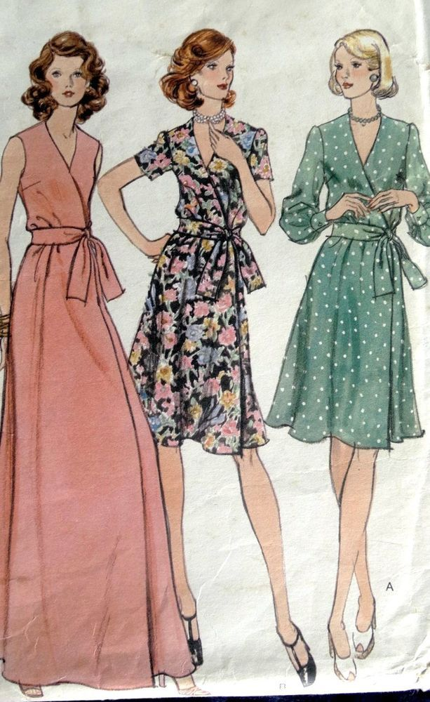 Vintage 1970s Vogue Wrap Dress Pattern 8850 14 36 Bust A Line