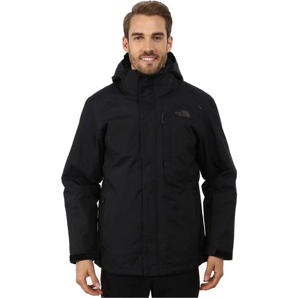 The North Face Vortex Triclimate Jacket (TNF Black) ($210) ❤ liked on Polyvore featuring men's fashion, men's clothing, men's outerwear, men's jackets, black, mens waterproof jacket, mens faux fur hooded jacket, mens insulated jacket, mens sport jackets and mens hooded jacket