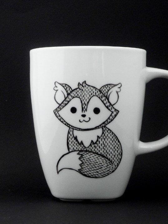 fox mug in black and white, fox, fox mug, fox cup, personalized mug, woodland mug, christmas gift door vitaminaeu op Etsy https://www.etsy.com/nl/listing/166853094/fox-mug-in-black-and-white-fox-fox-mug