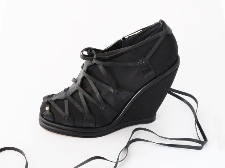 SELINA WEDGE #pzdvintage #edgy #blackleather #laceup #wedge #handmadeshoes