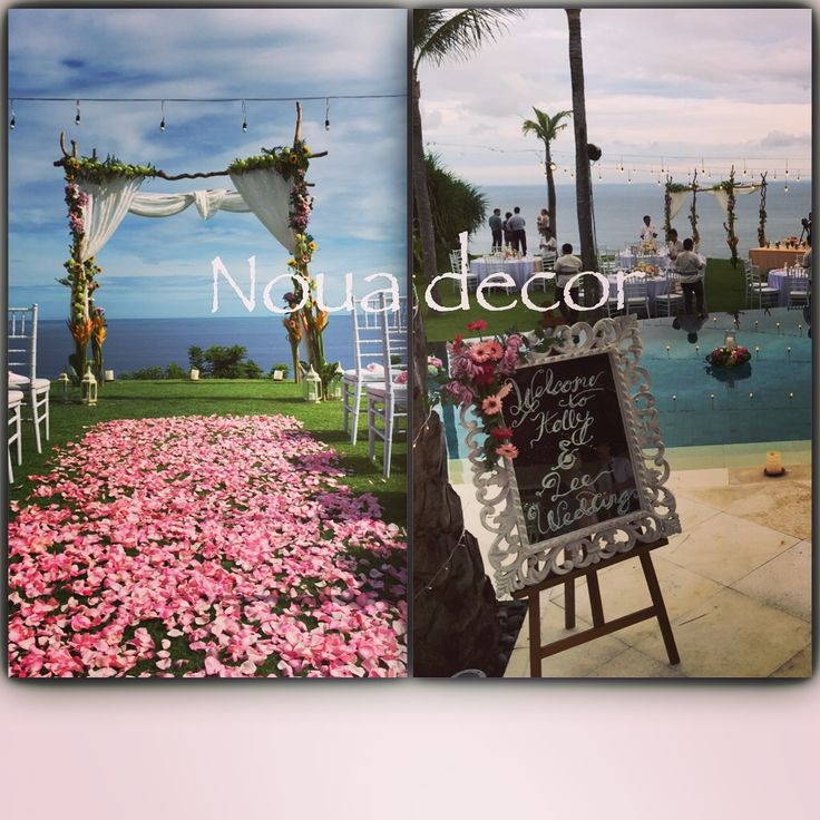 #weddingarch #nouadecor #woodenarch #lace #bohostyle #ceremony #weddinginbali #mirrorwelcomeboard #aisle