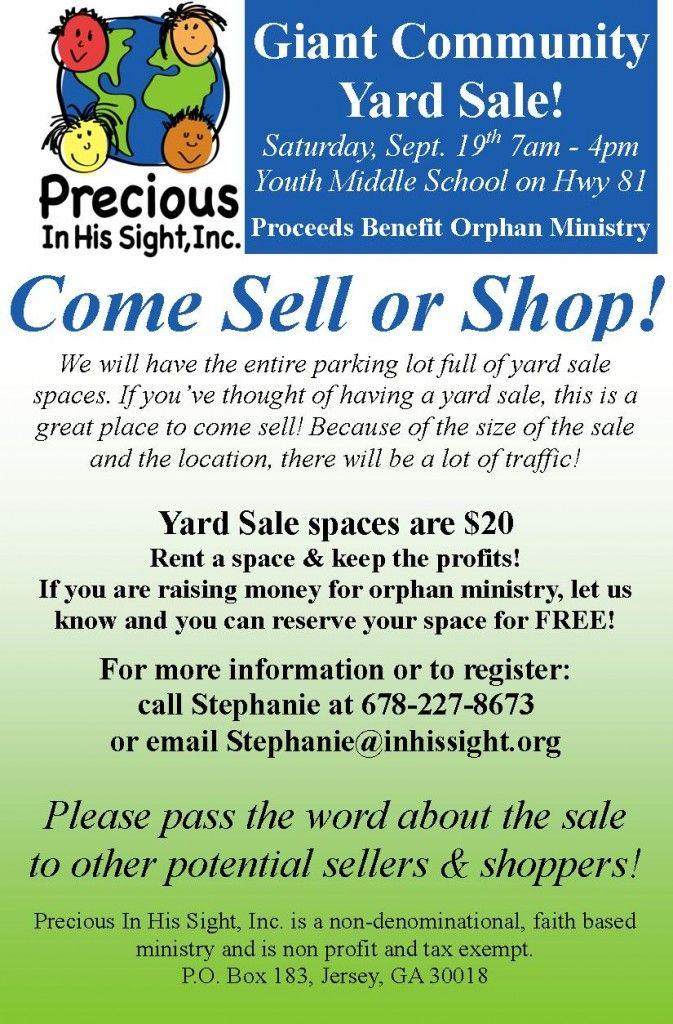 giant community yard sale sept  19th  u2013 sell or shop