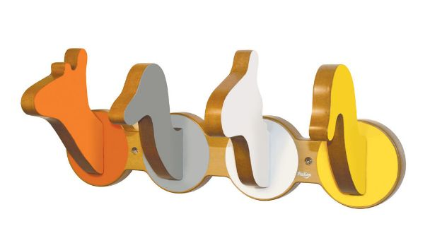 These adorable safari hooks come in cool and contemporary colors. #yellow #baby #nursery