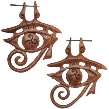 Organic Sabo Wood Eye of Horus Hand Carved Hanger Earrings   Body Candy Body Jewelry