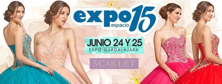 ¡Ahora en Guadalajara! Si estas planeando tu fiesta de 15 años, asiste este 24 y 25 de Junio a Expo Espacio 15, y visita nuestro stand ahí encontrarás gran variedad de vestidos, escoge el que más te guste para el gran día! ¡Te esperamos! #Expo15 #Scarlet