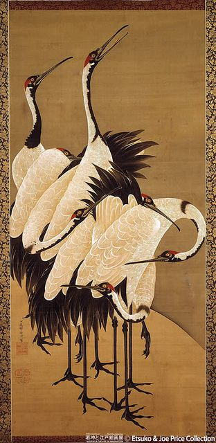 Japanese Red Crowned Cranes, Ito Jakuchu