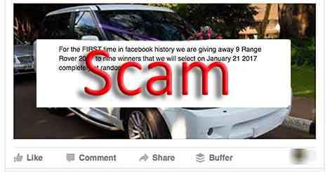 "Various ""Range Rover 2017"" Facebook Pages claim that ""for the first time in Facebook history"" you can get the chance to win a Range Rover. #scam #Facebook #RangeRover"