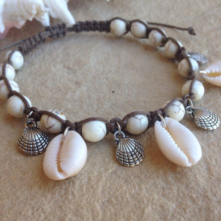 Adjustable Beaded Khaki Hemp Weaved Anklet with Cowrie Shells and Shell Charms. Www.etsy.com/shop/knsdesigns2014