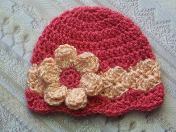 Baby Hat, Newborn Hat, Crochet Baby Hat, Baby Girl, Beanie, Deep Coral, Peach, Gift, Photo Prop