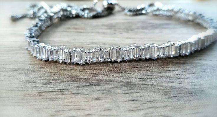 Rhodium plated cz genuine cubic zirconia Sparkle Tatoo Choker necklace, Extender customise,Chevron Link Tarnish resistant,Posh Punk by ClassicPunkDesign on Etsy