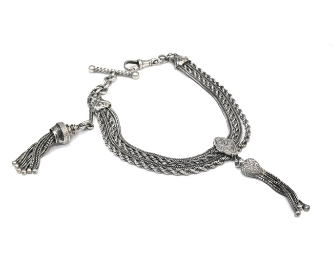 Victorian (c.1870) sterling silver Albertina chain with two tassels in excellent condition - a unique bracelet.