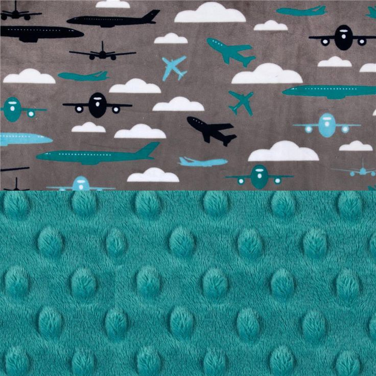 48 x 60 Toddler Blanket // Airplane Minky Baby Blanket Personalized Blanket Toddler Size / Gray Throw Blanket / Blue Baby Blanket by Sewingdreamsnotions on Etsy