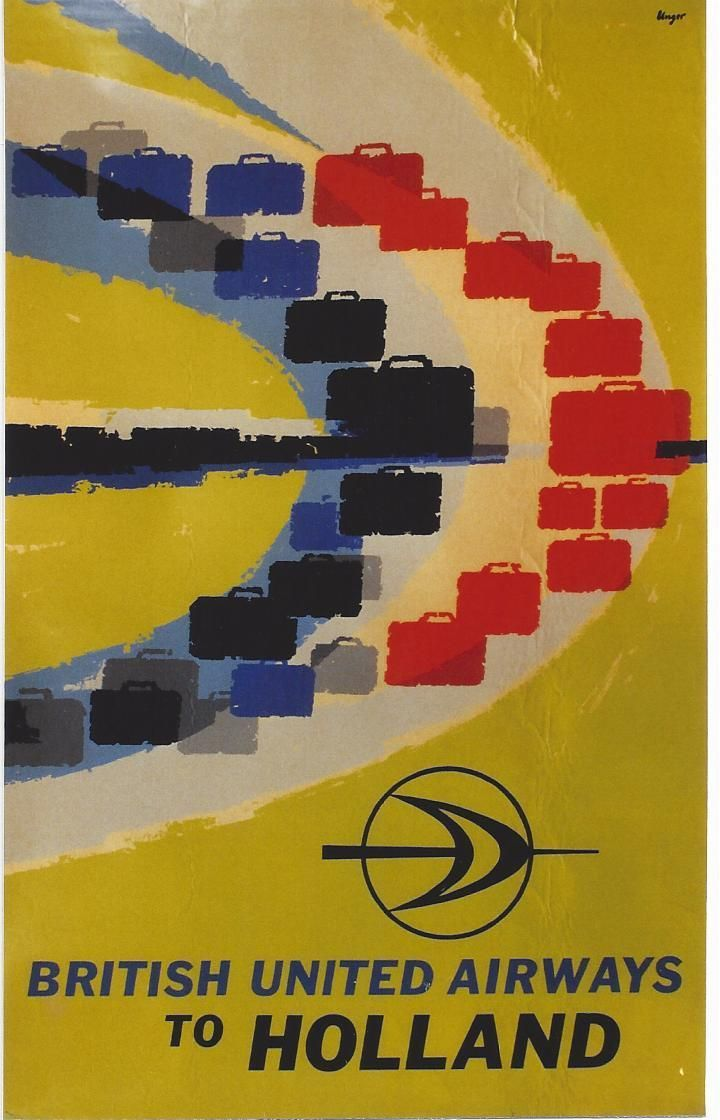 Hans Unger travel poster British United Airlines to Holland