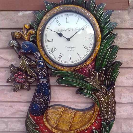 Buy wall clock online in India | Wall Clocks Online India | Antique wall Clock Online India |Designer Wall Clock Online India - India Buy at best price and discount |wall clocks online buy| Vintage Clocks Online India|Wooden wall clock india | Jordaar.in  :Painted Wall Clock Peacock