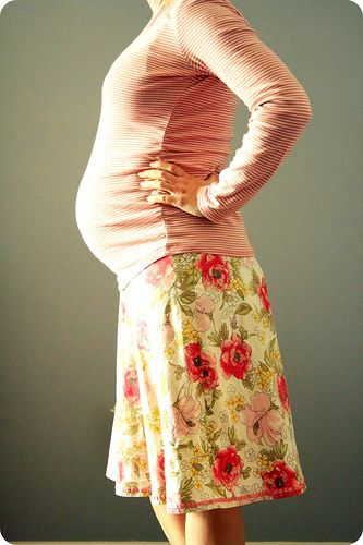 Turning a normal-sized skirt into maternity.