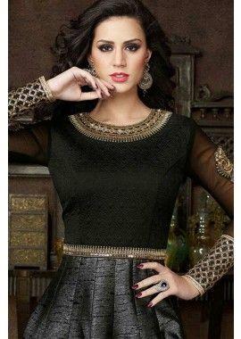 soie noire costume Anarkali