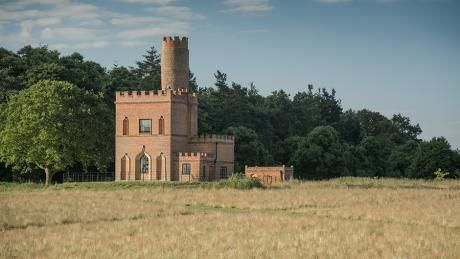 The Tower, Nr. Aylsham, Norfolk. © Mike Henton. A mini castle complete with a Rapunzel tower and rooftop terrace offering panoramic views across rolling fields and woodlands, stretching to the coast. Set on the impressive Blickling Estate it was previously used as the second Earl of Buckinghamshire's race stand. The National Trust.
