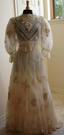 Maria Niforos - Fine Antique Lace, Linens & Textiles : Antique & Vintage Clothing # CL-7 Edwardian Tambour Lace Wedding Outfit