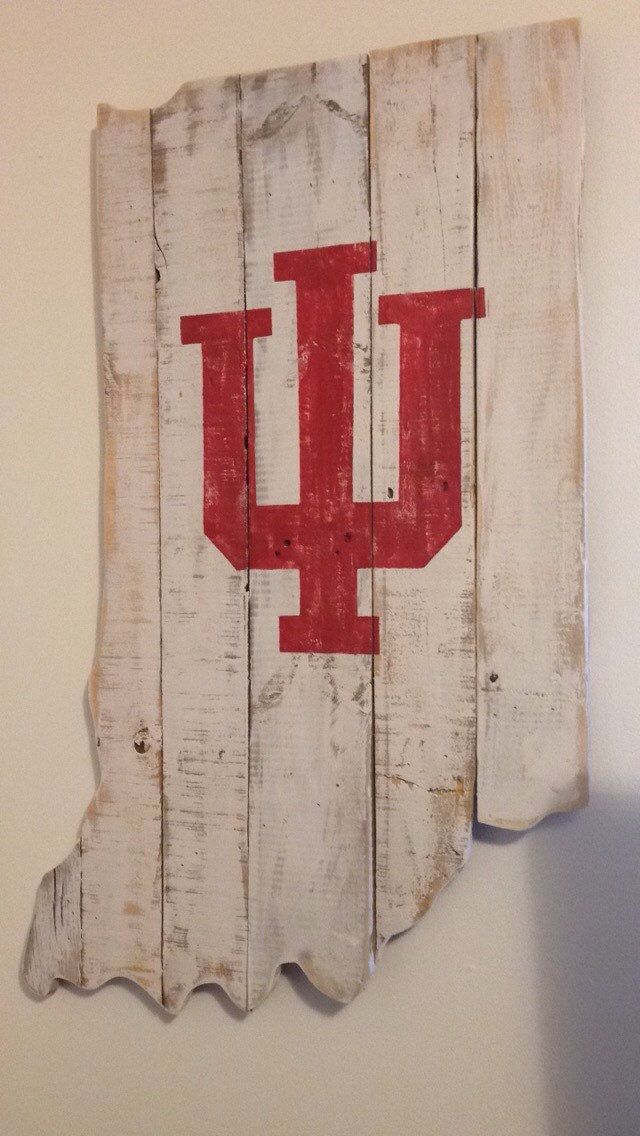 IU Pallet Sign | Indiana Hoosiers | Distressed Wood Sign | College Sports | Rustic sports decor | March Madness | Sweet 16 by R2KPallet on Etsy