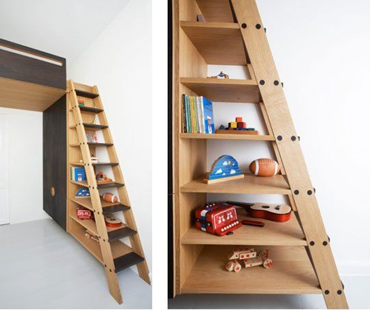 Charming Loft Bed And Storage In A Small Space By Frederic Collette