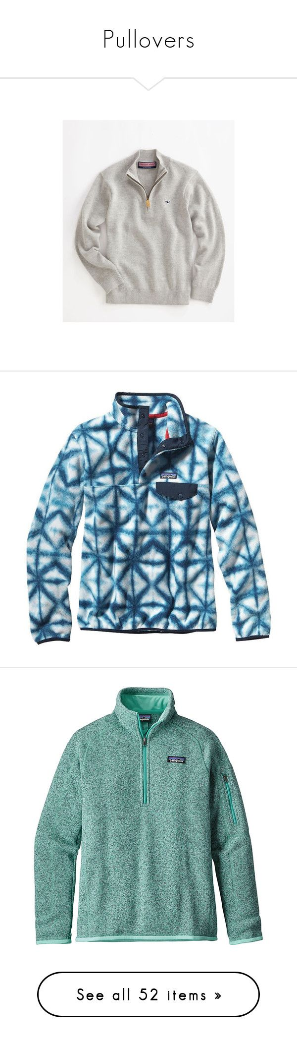 """""""Pullovers"""" by bowhunter1498702 ❤ liked on Polyvore featuring tops, sweaters, jackets, pullovers, shirts, patagonia, navy blue, blue pullover sweater, patagonia sweater and lightweight fleece pullover"""