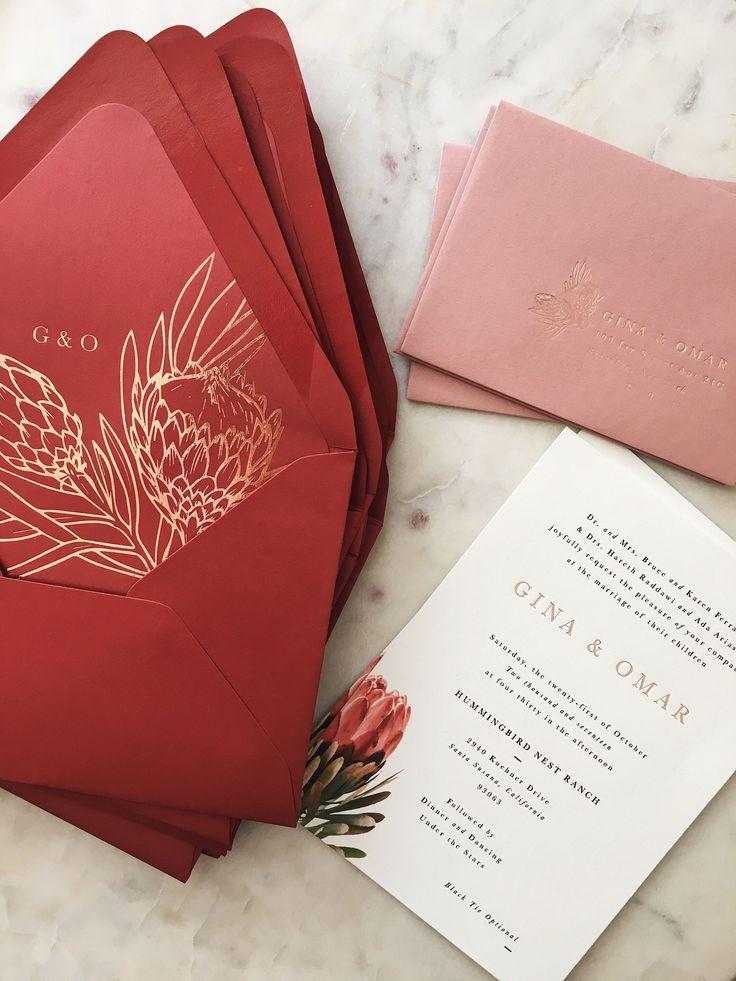 Protea Wedding Invitation Design Burgundy Wedding Invitations
